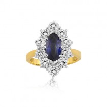 18ct Gold Sapphire & Diamond  Cluster Ring - S 1.13ct D 1.51ct