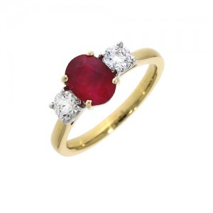 18ct Gold Ruby & Diamond Ring -  R 1.02  D 0.50