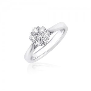 Platinum 7st Diamond Cluster Ring - 0.60cts