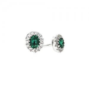 18ct White Gold Emerald & Diamond Stud Earrings - E 0.29 D 0.10