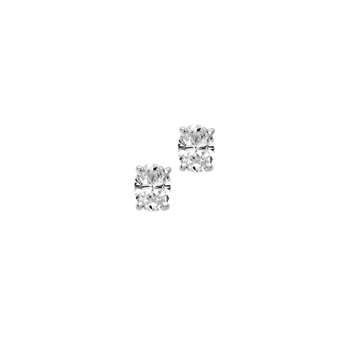 18ct White Gold Oval Diamond Stud Earrings - 0.61