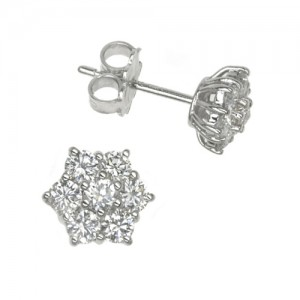 18ct White Gold Diamond Petal Cluster Earrings - 1.57cts