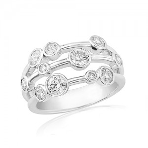 18ct White Gold Diamond Bubbles Ring - 1.00ct