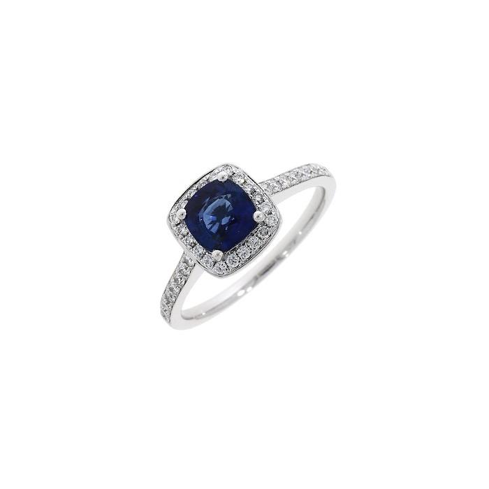 18ct White Gold Sapphire & Diamond Ring - S 1.10 D 0.30