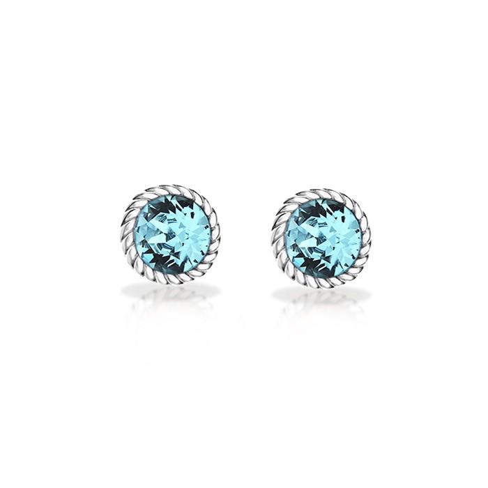 Sterling Silver Light Blue Swarovski Crystal Stud Earrings