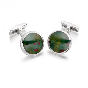 Hoxton London Sterling Silver Agate Round Cufflinks