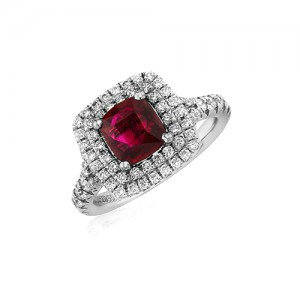 18ct White Gold Ruby & Diamond Cluster Ring -