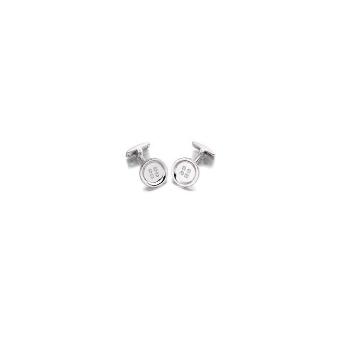 Hoxton London Silver Round Cz Button Cufflinks