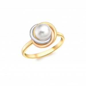 9ct 3-colour Gold Knot & 8mm Pearl Ring