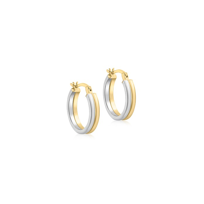 9ct Two Colour Gold Circular Hoop Earrings