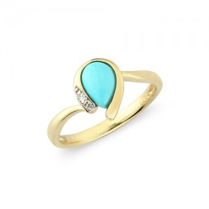 9ct Turquoise & Diamond Ring