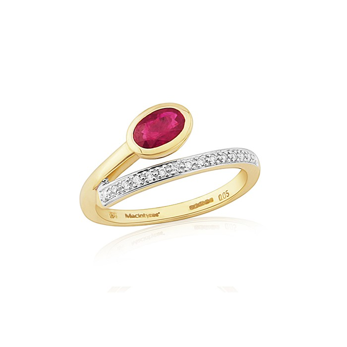9ct Gold Ruby & Diamond Dress Ring - 0.05cts