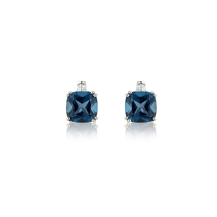 9ct White Gold London Blue Topaz & Diamond Earrings