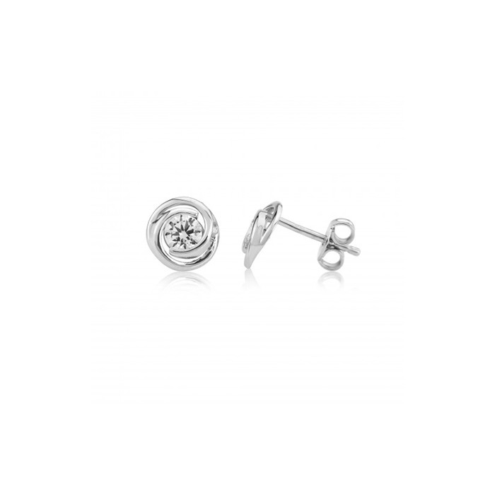 9ct White Gold CZ Knot Earrings