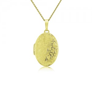 9ct Engraved Locket & Chain