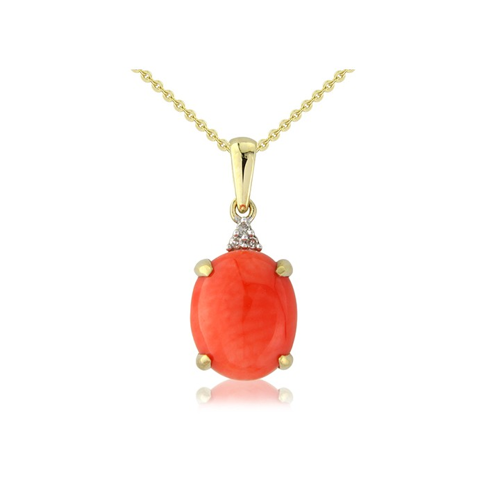 9ct Gold Coral & Diamond Pendant