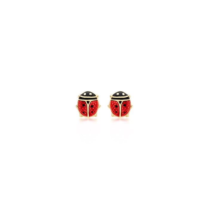 9ct Yellow Gold Enamelled Ladybird Stud Earrings