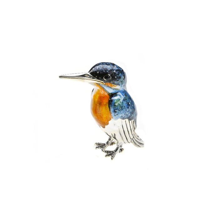 Saturno Sterling Silver & Enamel Kingfisher - Large - 12882L