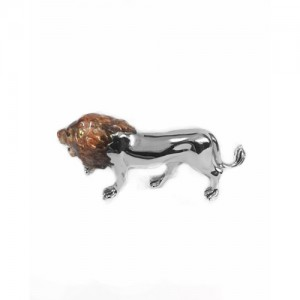 Saturno Sterling Silver & Enamel Lion - Large - 12895S