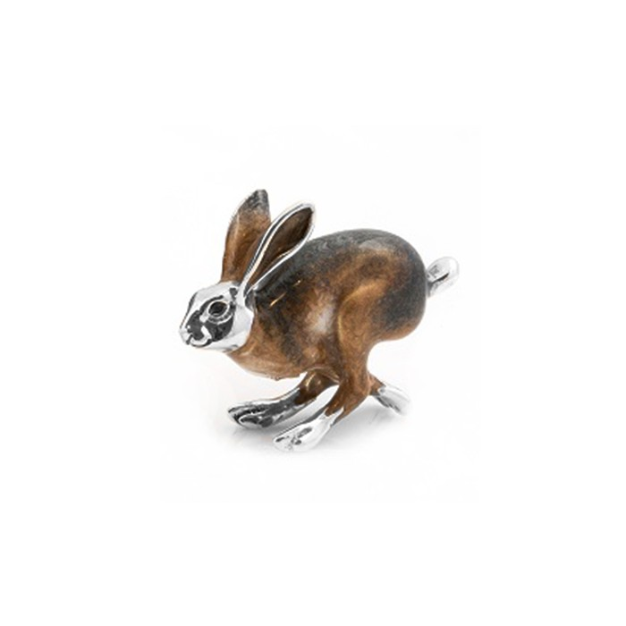 Saturno Sterling Silver & Enamel Running Hare - Medium -11428M