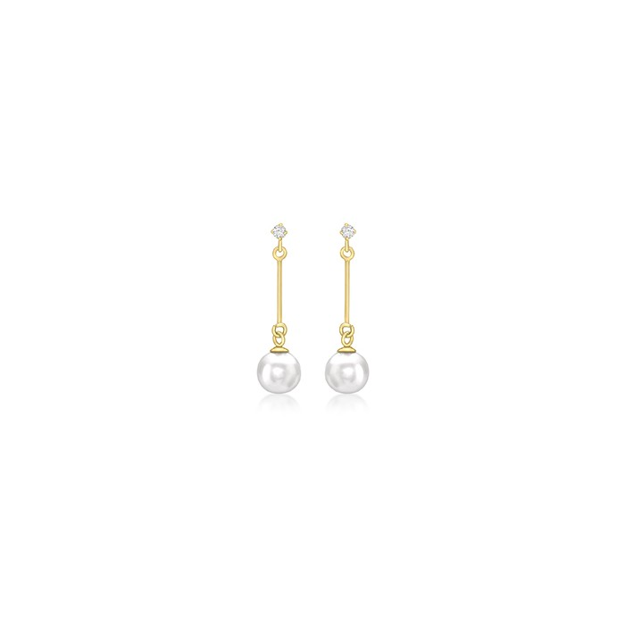 9ct Gold Cubic Zirconia And Pearl Drop Earrings