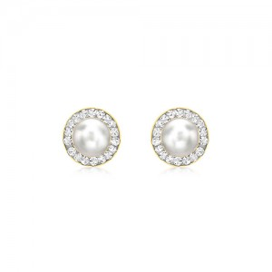 9ct Yellow Gold Pearl And CZ Stud Earrings
