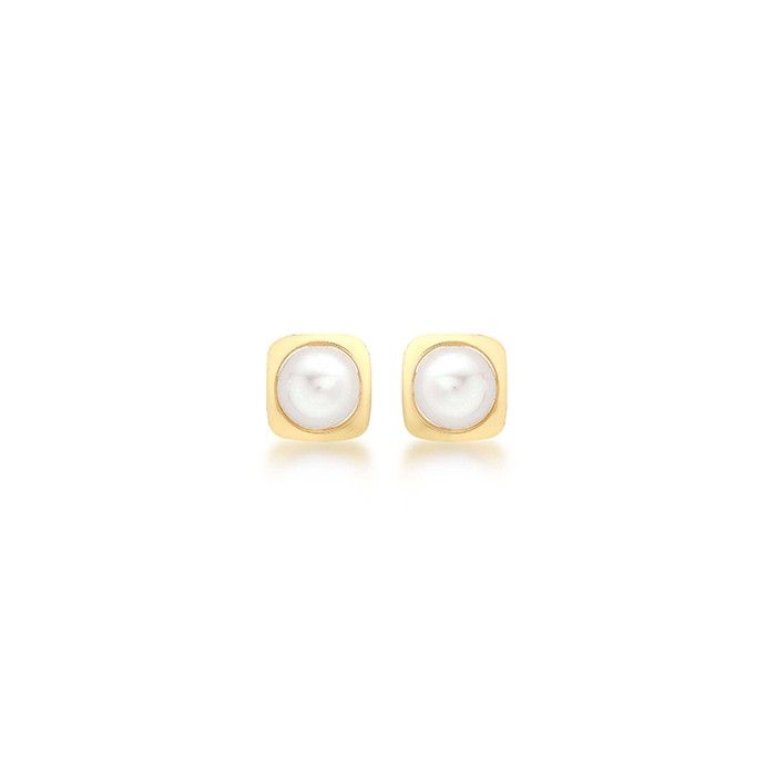 9ct Yellow Gold Freshwater Pearl Square Earrings