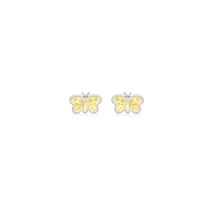 9ct Two Colour Gold Butterfly Stud Earrings