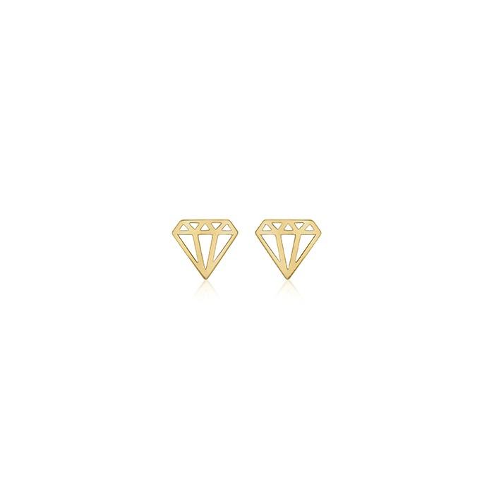 9ct Gold Diamond- Outline Stud Earrings