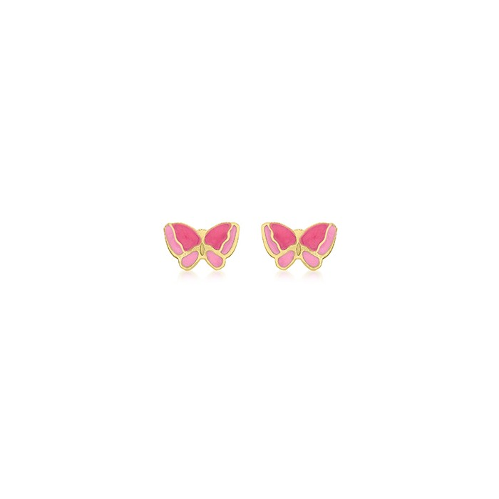 9ct Gold Enamelled Pink Butterfly Stud Earrings