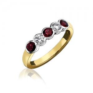 18ct Gold 5st Ruby & Diamond Eternity Ring - R 0.59 D 0.30