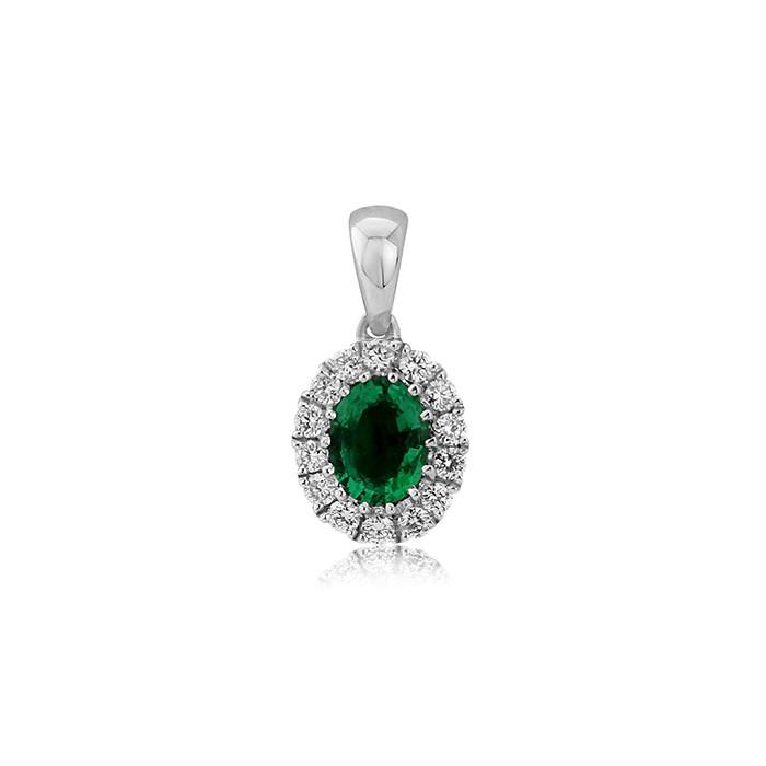 18ct White Gold Emerald & Diamond Pendant -  E 0.27 D:0.11