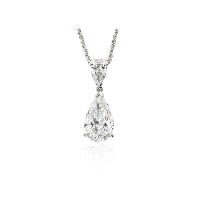 18ct White Gold 2st Pear-shaped Diamond Necklet - 1.01 + 0.31 G