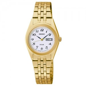 Seiko Ladies Gold Plated Day And Day Solar Watch - SUT118P9