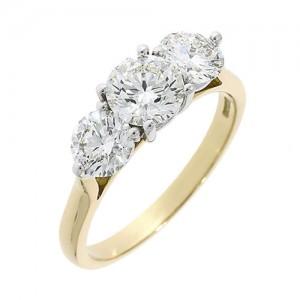 18ct Gold 3 Stone Diamond Ring - 1.53ct  G/SI1