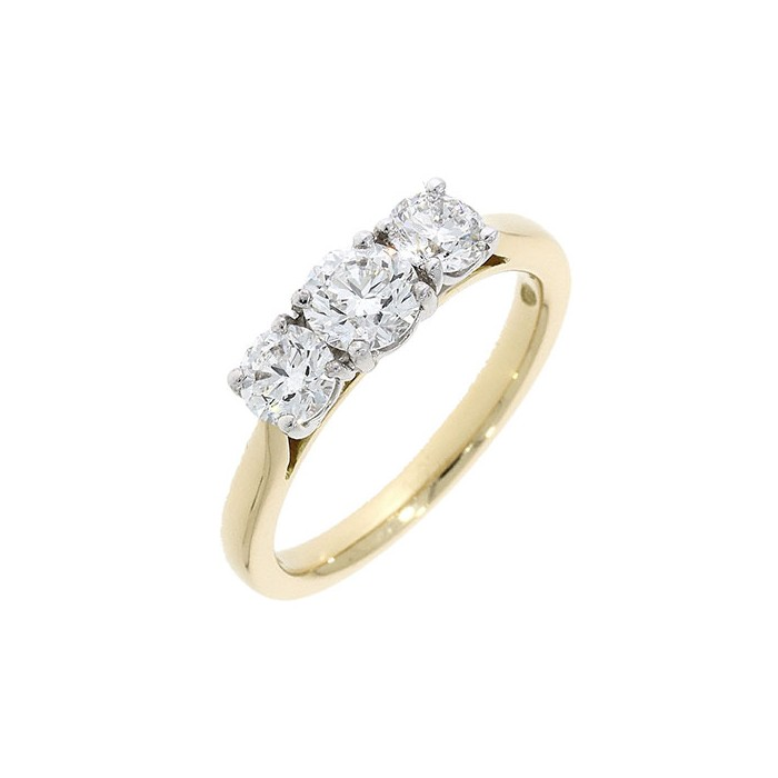 18ct Gold 3 Stone Diamond Engagement Ring - 1.50cts