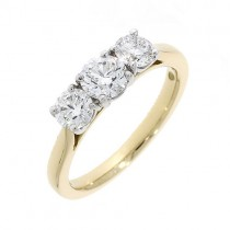 Three Stone Engagement Rings:  18ct Gold 3 Stone Diamond Ring - 1.29cts