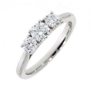Platinum 3st Diamond Ring - 0.78cts
