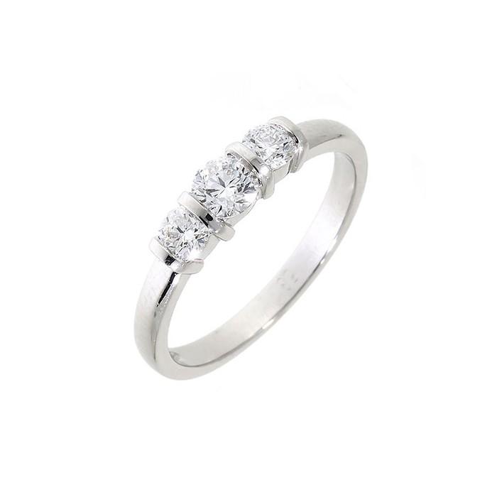 Platinum Three Stone Bar Set Diamond Ring - 0.52cts