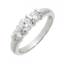 Platinum Three Stone Bar Set Diamond Ring - 0.78cts