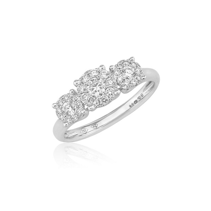 18ct White Gold Multi-cluster Diamond Ring - 0.31ct
