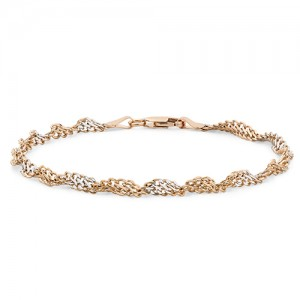 9ct Rose And White Gold Twisted Curb Link Bracelet