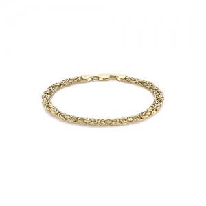 9ct Yellow Gold Oval Byzantine Link Bracelet