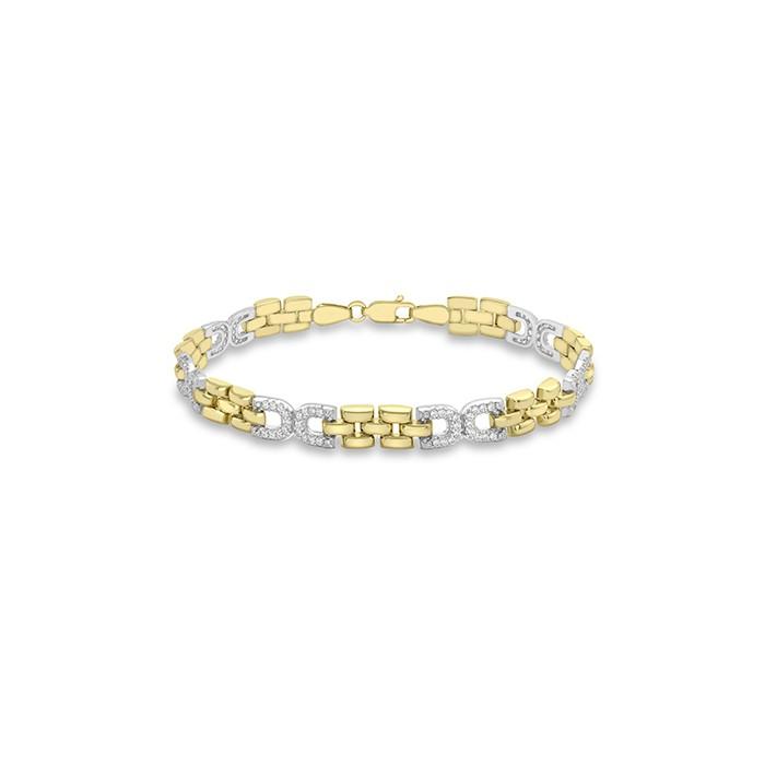 9ct Yellow & White Gold CZ Bracelet