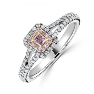 18ct White Gold Natural Pink & White Diamond Ring PD 0.17 D 0.56