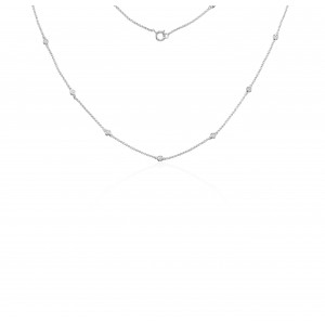 18ct White Gold Diamond Sautoir Necklace 16.5 inch - 0.28cts