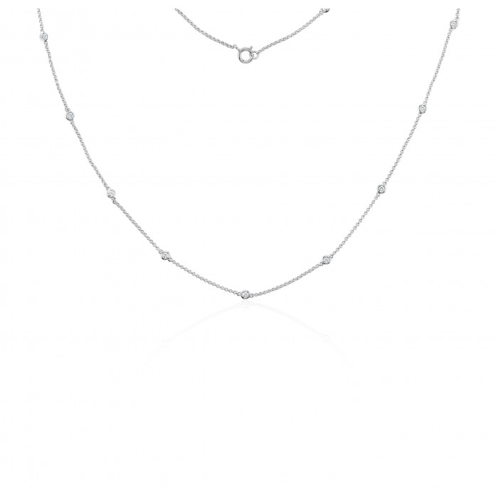 18ct White Gold Fine Diamond Sautoir  Necklace 18 inch 0.33cts
