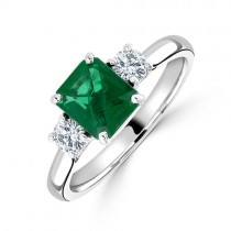 Platinum Three Stone Emerald & Diamond Ring - E 1.08  D 0.30