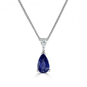 18ct White Gold Sapphire & Diamond Pendant - S 3.16ct D 0.23ct