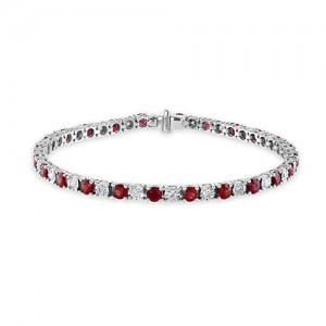 18ct White Gold Ruby & Diamond Line Bracelet - R 4.50 D 1.00cts